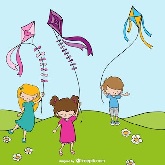 Children with kites cartoon