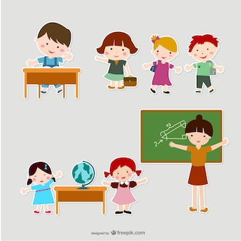 childrens and teachers in scrapbook style