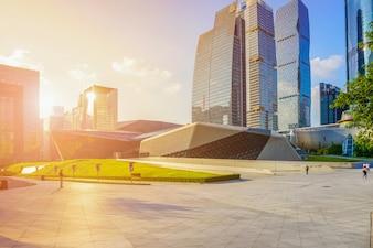 China river finance blue sky city landscape