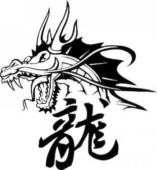 Chinese dragon head and symbols