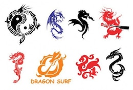 Chinese dragon symbols set