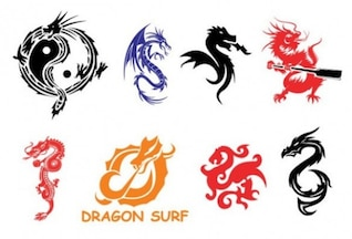 Chinese dragon symbols set