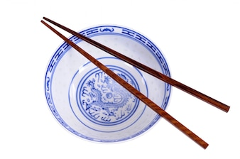 Chinese rice bowl with chopsticks