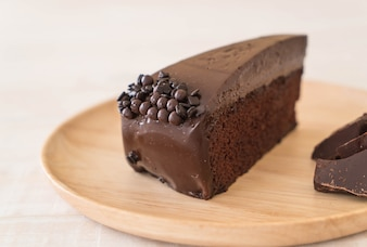 Chocolate cake on wood