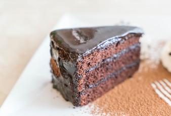 Chocolate cake with ice-cream and whipped cream
