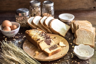Chocolate marble cake with bread and ingredient