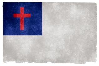 christianity grunge flag  stock