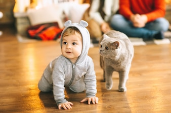 Christmas baby and cat