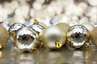 Christmas background of golden baubles