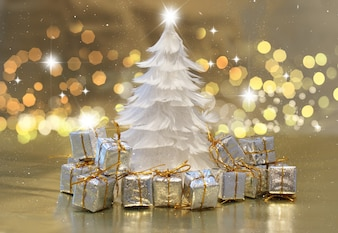 Christmas background with feather tree and gifts