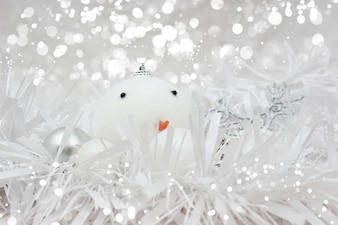 Christmas background with snowman ball