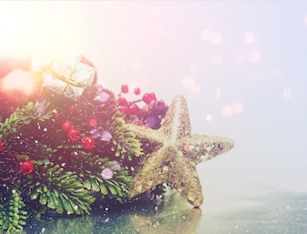 Christmas background with star and natural elements