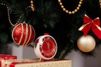 Christmas balls and a clock
