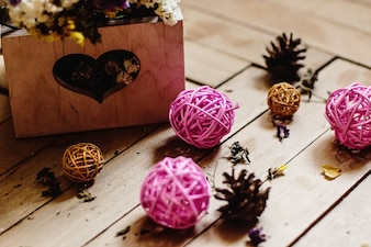 Christmas balls and pine cones
