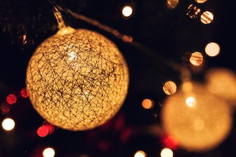 Christmas balls with lights inside and bokeh effect
