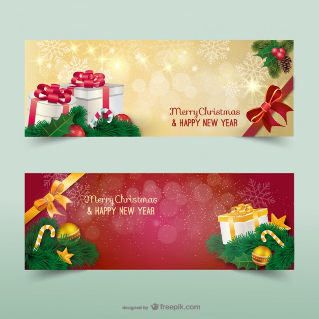 Christmas banners with sparks