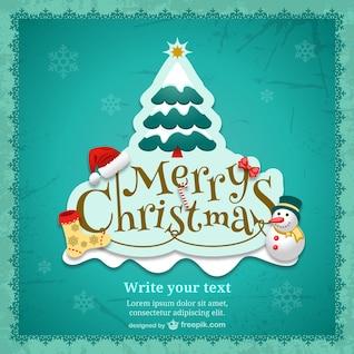 Christmas card template with cartoons