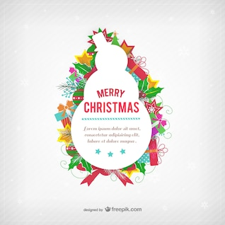 Christmas card template with snowman silhouette