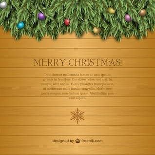 Christmas card template with wood texture