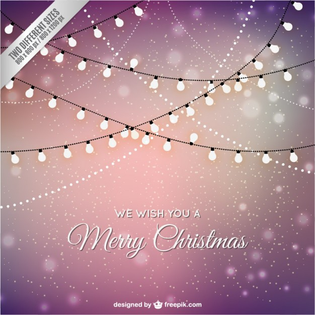 Christmas card vector with lights