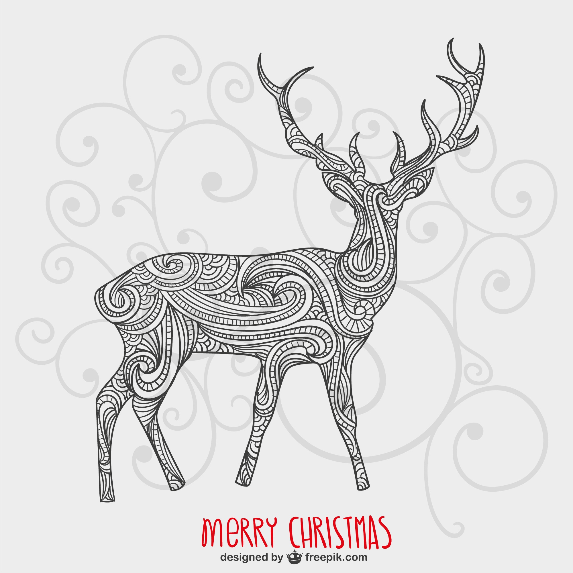 Christmas card with artistic reindeer