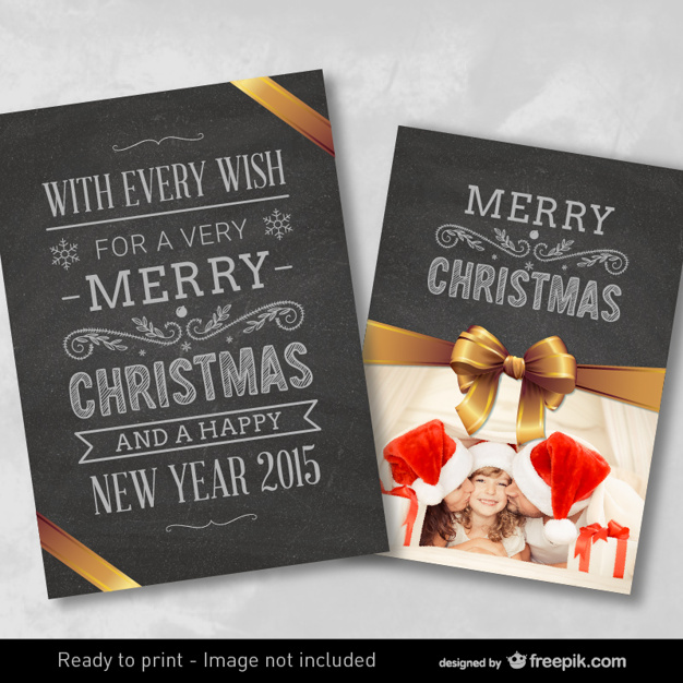Christmas card with blackboard texture