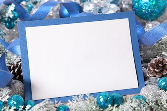 Christmas card with blue frame