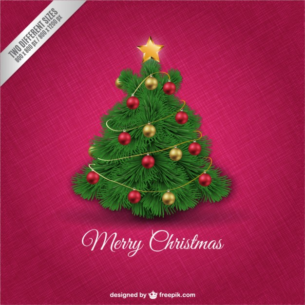 Christmas card with cute tree