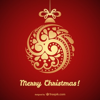 Christmas card with golden bauble