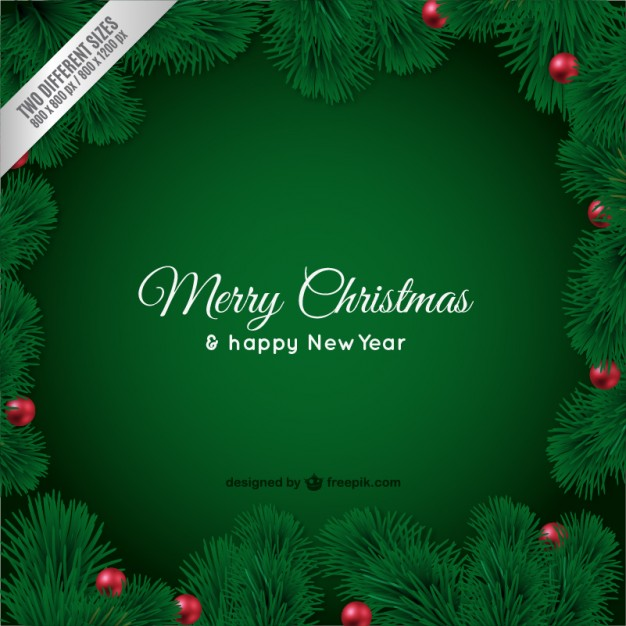 Christmas card with green leaves