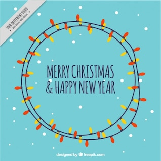 Christmas card with light bulbs vector