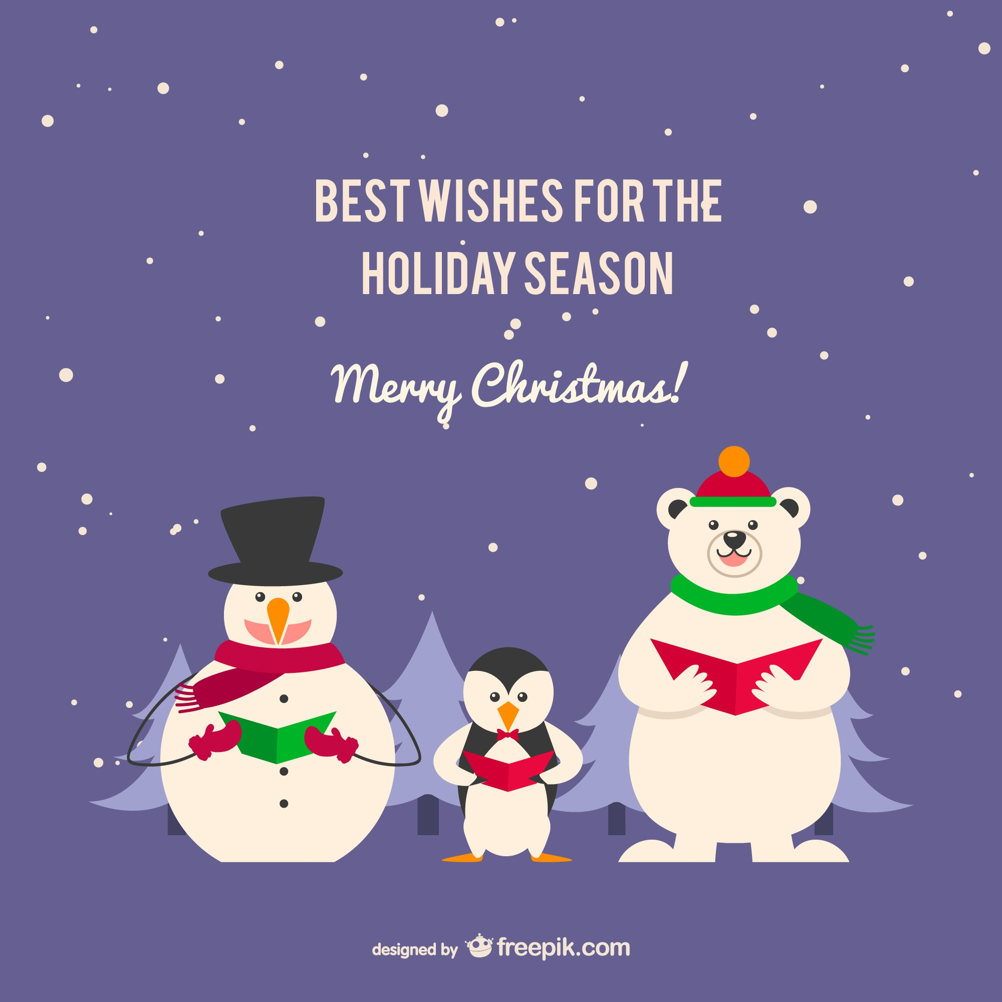 Christmas card with penguin and bear