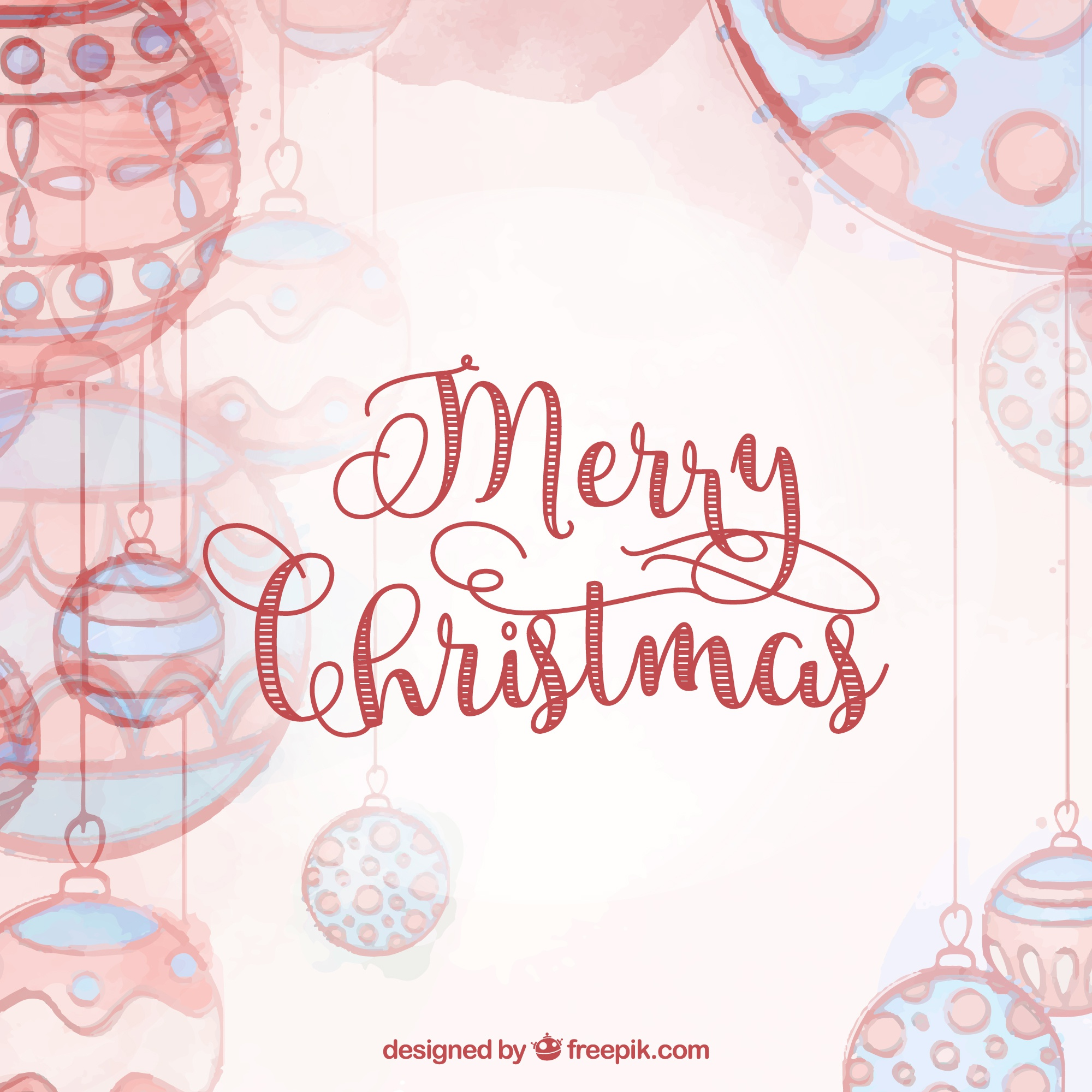 Christmas card with red bauble vector