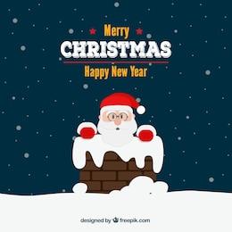 Christmas card with Santa and chimney