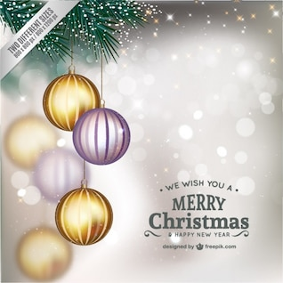 Christmas card with shiny baubles
