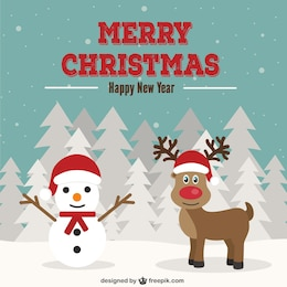 Christmas card with snowman and reindeer