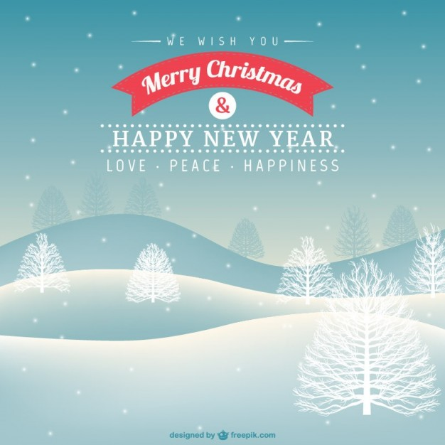 Christmas card with snowy landscape vector
