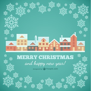 Christmas card with urban landscape
