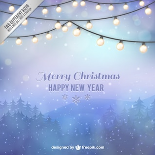 Christmas card with winter landscape