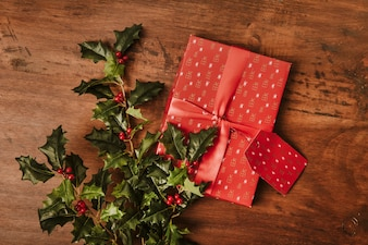 Christmas composition with gifts and mistletoe