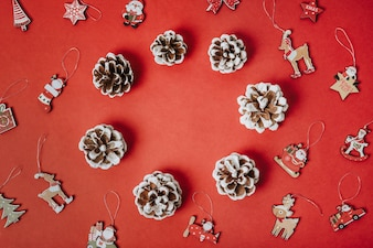 Christmas composition with pine cones and ornaments