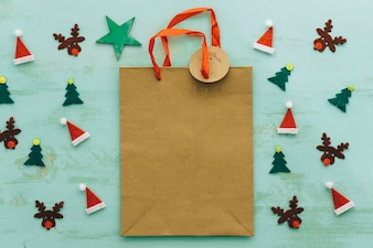 Christmas concept with paper bag