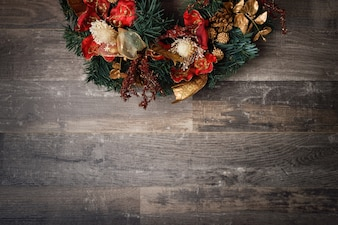 Christmas decoration on dark wooden board