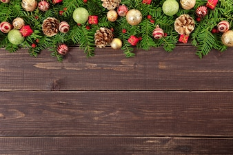 Christmas decoration on wooden floor