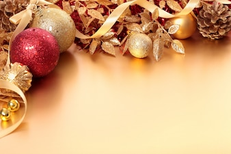 Christmas decoration with red and golden balls