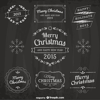Christmas design elements with blackboard texture