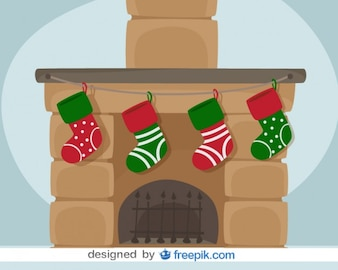 Christmas Fireplace Vector Card Illustration