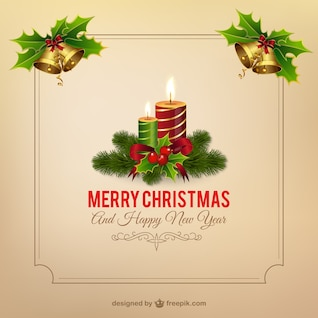 Christmas frame vector with candles