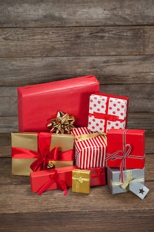 Christmas gifts piled up