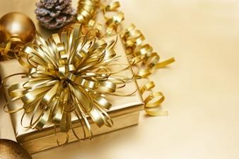 Christmas golden gift background